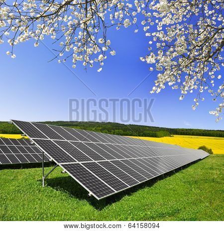 Solar energy panels against blue sky