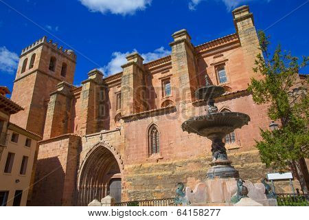 Mora de Rubielos Teruel church of XV century with fountain in Spain