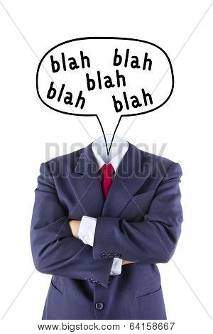 Invisible Businessman No Head Say Blah Blah Blah