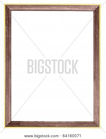 Wooden Gilt Photo Frame Isolated On White Background