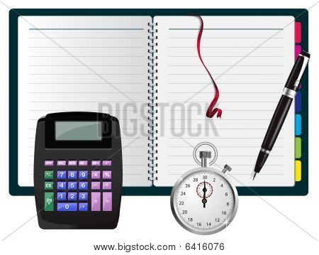 Vector note with calculator, pen and stopwatch