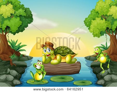Illustration of a turtle and the two frogs at the river