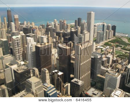 Aerial View Of Chicago, Illinois Looking North-east