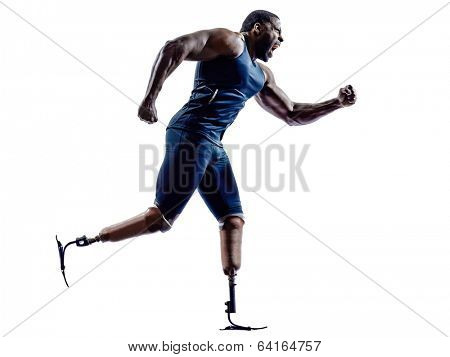 one muscular handicapped man runners sprinters  with legs prosthesis in silhouettes on white background