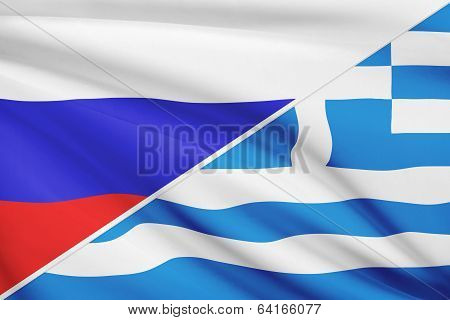 Series Of Ruffled Flags. Russia And Hellenic Republic - Greece.