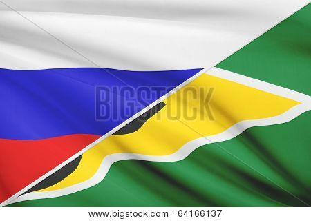 Series Of Ruffled Flags. Russia And Co-operative Republic Of Guyana.