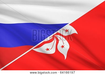 Series Of Ruffled Flags. Russia And Hong Kong Special Administrative Region Of The People's Republic