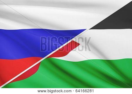 Series Of Ruffled Flags. Russia And Hashemite Kingdom Of Jordan.
