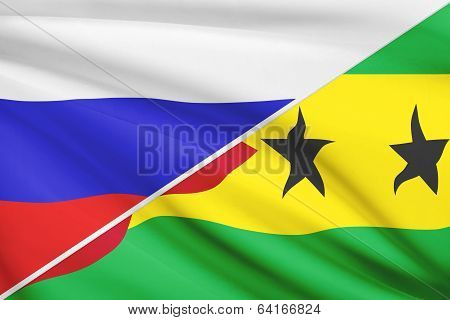 Series Of Ruffled Flags. Russia And Democratic Republic Of Sao Tomt And Principe.
