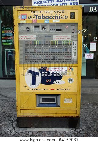 BOLOGNA, ITALY - APRIL 19, 2014: A cigarette vending machine in Bologna, Italy, on Saturday, April 19, 2014.