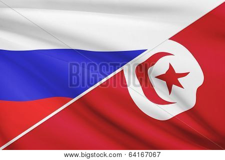 Series Of Ruffled Flags. Russia And Tunisia.