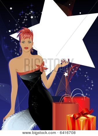 Seasonal luxury shopping concept with copy space