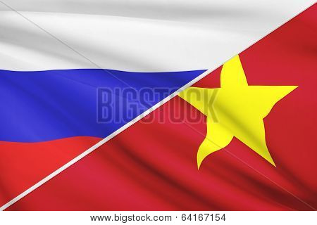 Series Of Ruffled Flags. Russia And Socialist Republic Of Vietnam.
