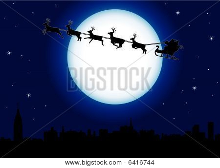 Santa over a city
