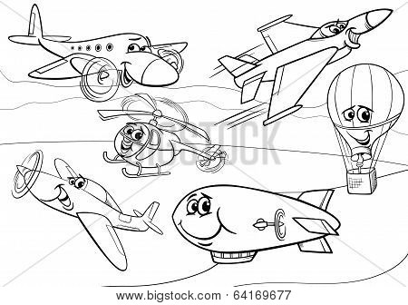 Planes Aircraft Group Coloring Page