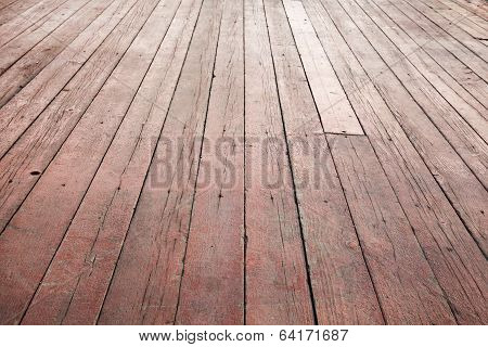 Red Wooden Floor Perspective. Background Photo Texture