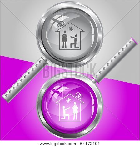 Home affiance. Vector magnifying glass.