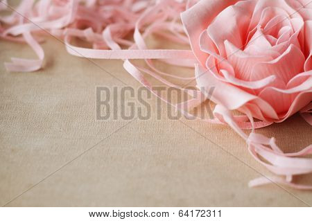 Beige Linen With Pink Rose As An Abstract Vintage Texture