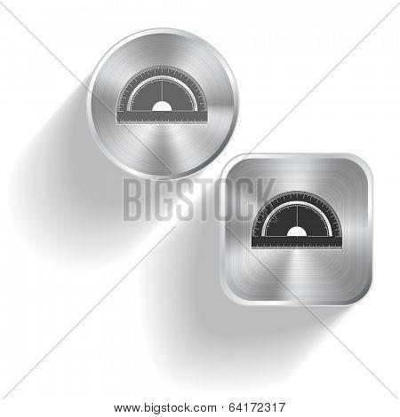 Protractor. Vector set steel buttons