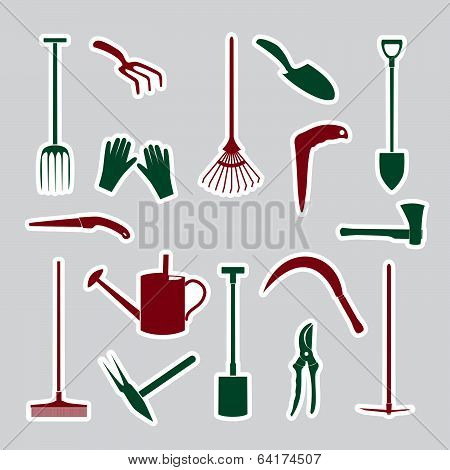 gardening tools stickers eps10