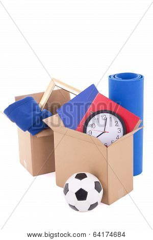 Cardboard Boxes With Stuff Ready For Moving Day Isolated On White