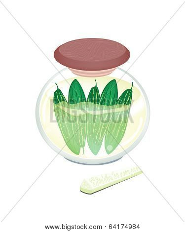 Pikled Marrow In A Jar On White Background