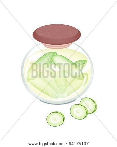 Pikled Cucumber In A Jar On White Background