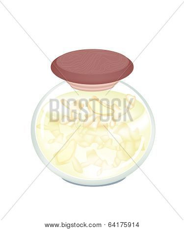 Pickled Gingers In A Jar On White Background