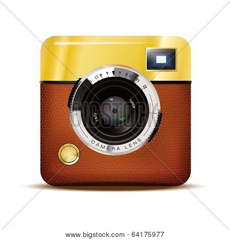 Retro Camera Icon Vector Illustration. Detailed Vector Icon of Brown leather covered Retro Viewfinder Camera isolated on white background