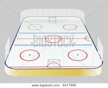 Ice hockey field realistic.