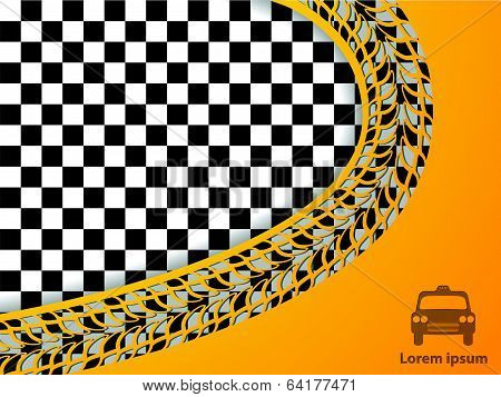 Abstract Taxi Design With Checkered Background
