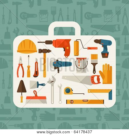 Repair and construction illustration with working tools icons.