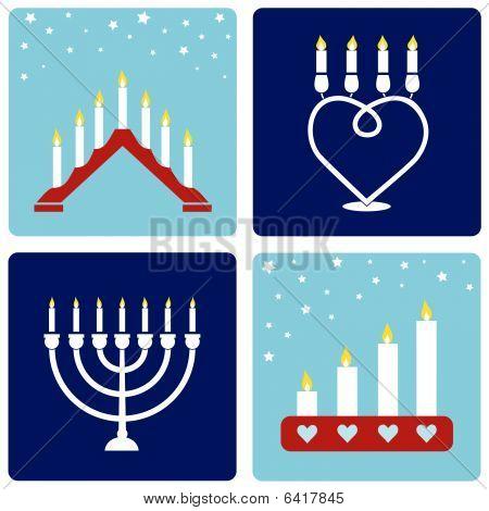 Four Christmas candleholders