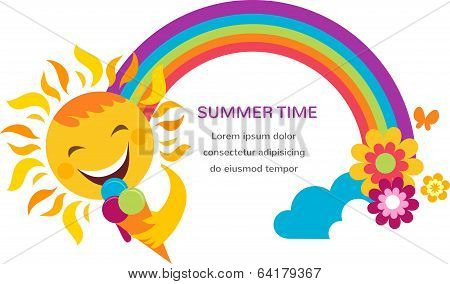 summer illustration of a happy sun, rainbow and colorful flowers