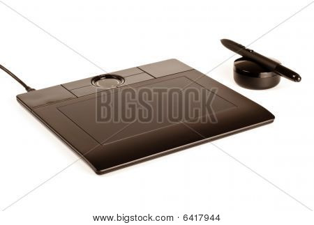 Black Drawing Tablet With Pen