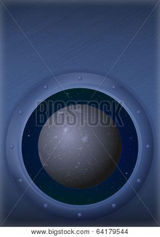 Planet Mercury in space window