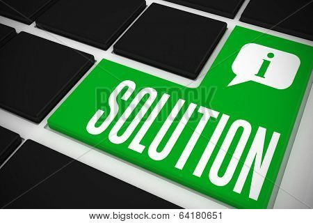 The word solution and speech bubble on black keyboard with green key