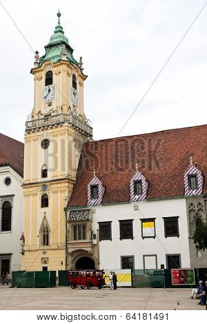 bratislava in the slovak republic to the european union. old town hall