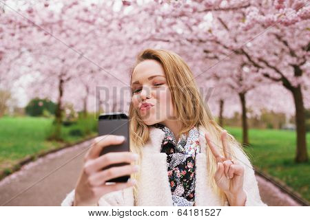 Attractive Young Woman Posing For Selfie
