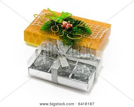 Christmas gifts on white