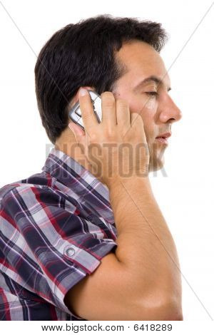 Young Casual Man On The Phone Isolated On White