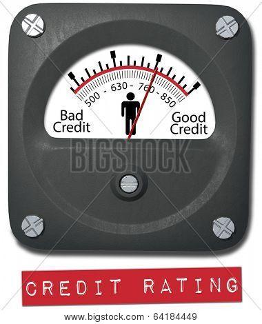 Meter measures good credit rating of consumer person