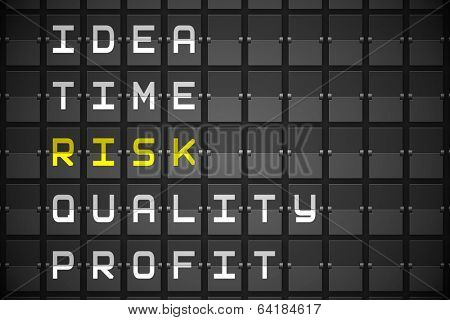 Risk buzzwords on digitally generated black mechanical board