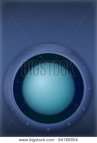 Planet Uranus in space window