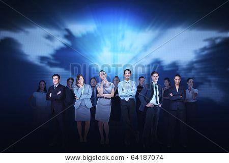 Digital composite of business team against blue map background