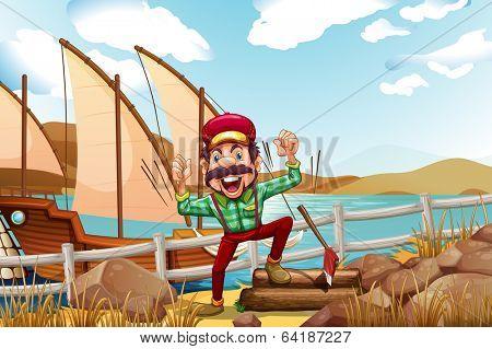 Illustration of a lumberjack shouting