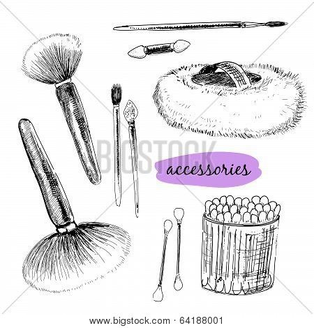 Mak?up brushes and accessories.