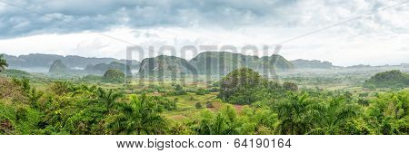 Panoramic view of the Vinales Valley, a cuban natural landmark famous for its beauty and its tobacco plantations