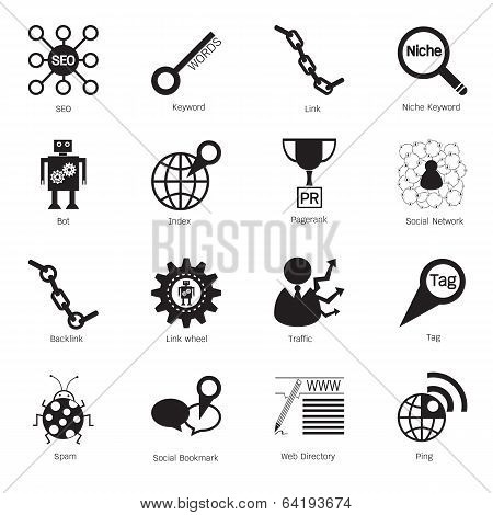 Seo Icons. Search Engine Optimization Icons. Vector Illustration
