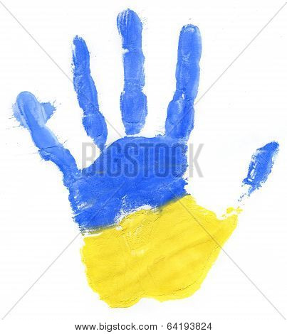 Handprint Of A Ukrainian Flag On A White